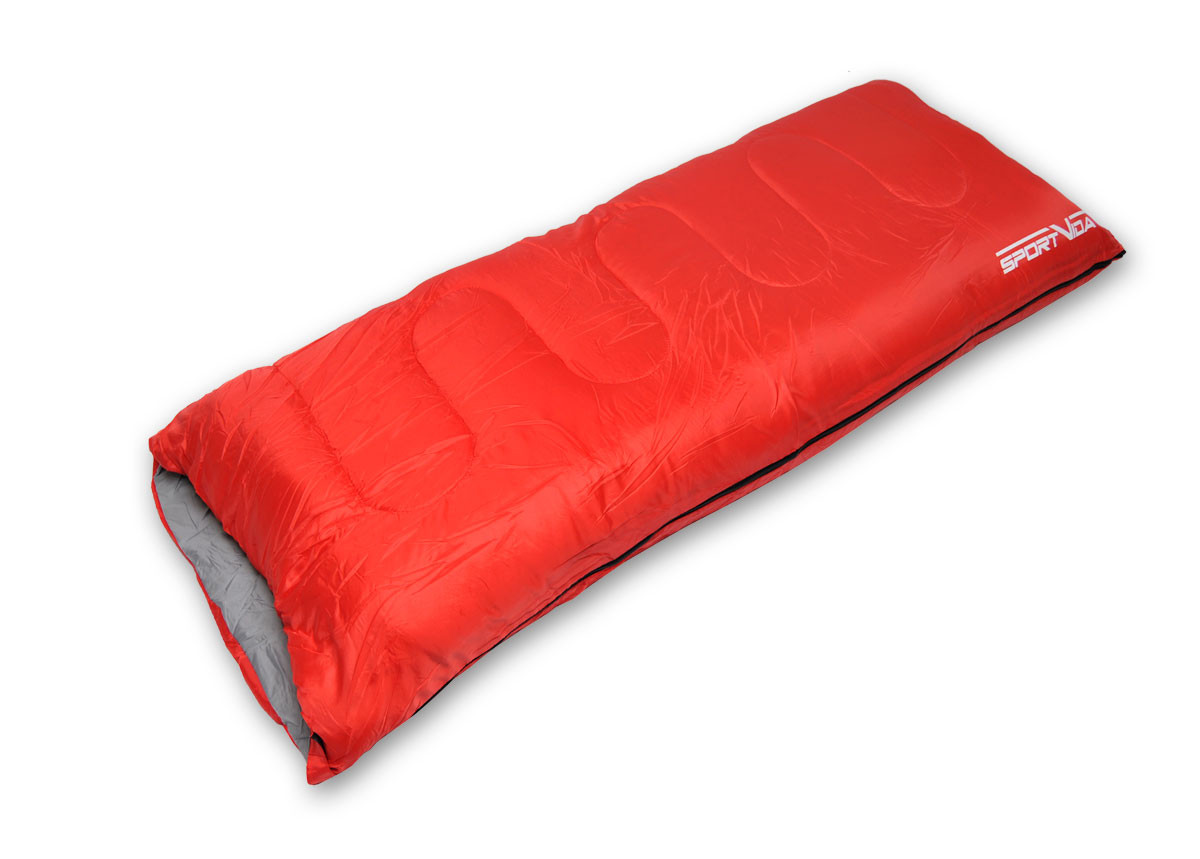 Туристический спальный мешок для походов SportVida, темп. режим до - 4 °C, цвет - красный