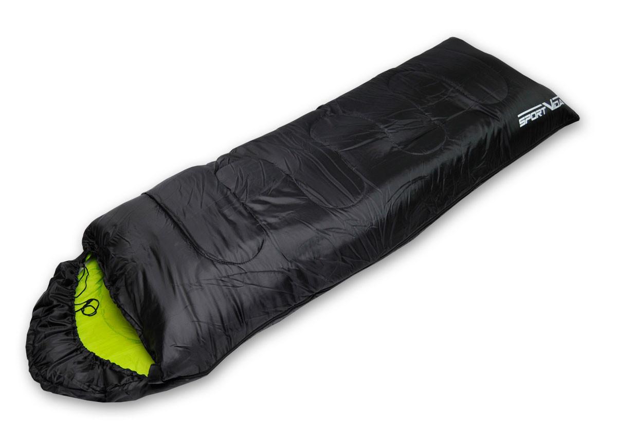 Спальный мешок туристический для отдыха SportVida, темп.режим до - 3°C, цвет - черно-зеленый