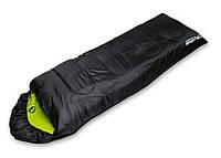 Спальный мешок туристический для отдыха SportVida, темп.режим до - 3°C, цвет - черно-зеленый, фото 1