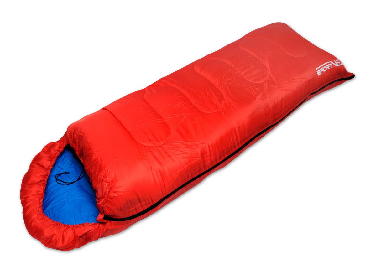 Туристический cпальный мешок SportVida, темп. режим до -3 °C, цвет- красный