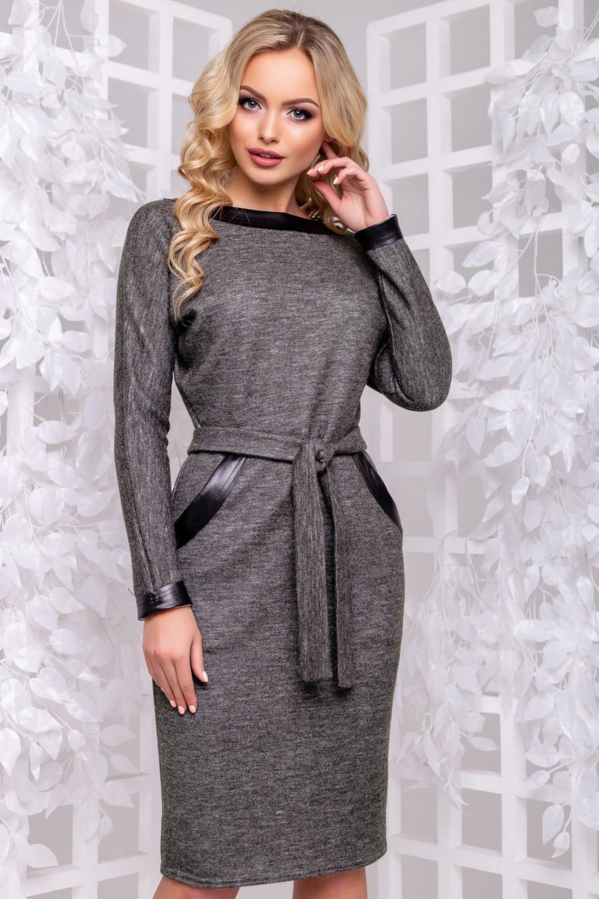 Женское деловое платье серое, размеры от 44 до 52, ангора с люрексом, повседневное, классическое
