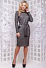 Женское деловое платье серое, размеры от 44 до 52, ангора с люрексом, повседневное, классическое, фото 2