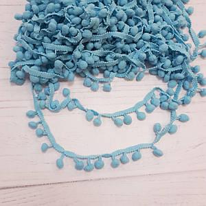 Тесьма с помпонами голубого цвета (10 мм)