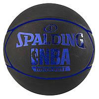 Мяч баскетбольный Spalding NBA Highlight размер 7 резиновый для игры на улице черный-синий