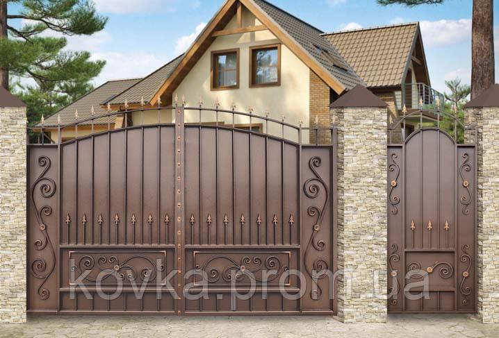 Распашные въездные ворота с калиткой, код: К-0113