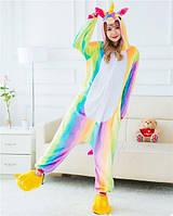 Пижама кигуруми женская и мужская Единорог радужный