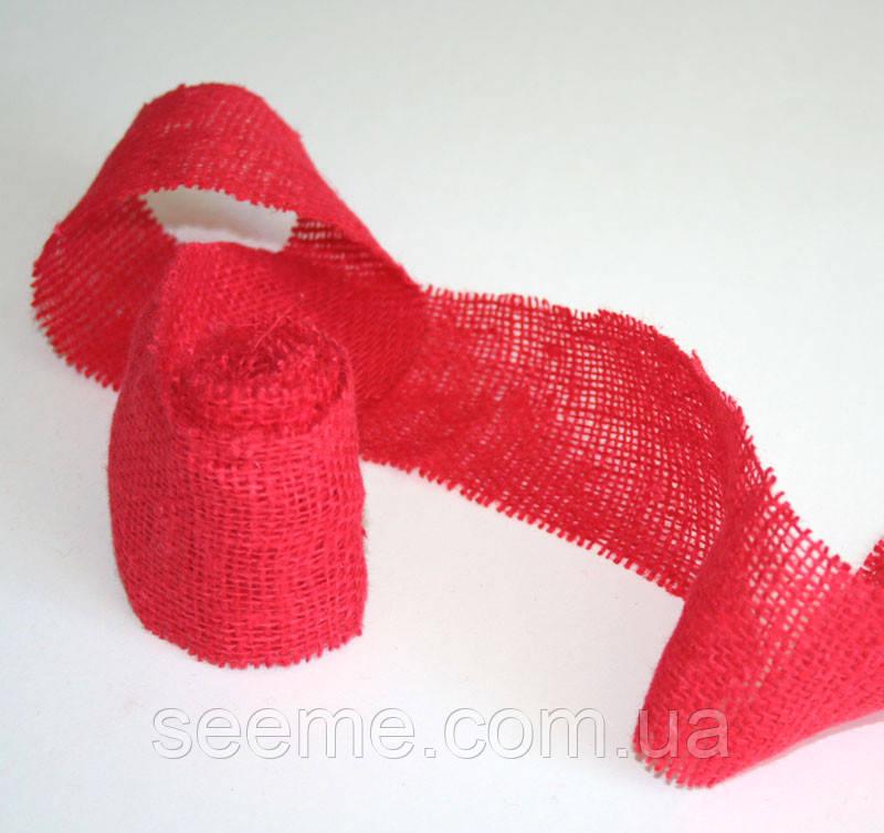 Лента льняная, ширина 70 мм, цвет красный, отрез 2 м