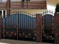 Металлические распашные въездные ворота с калиткой, код: К-0121
