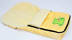 Конверт на овчине в коляску, санки, 90х55 см, цвет желтый, код 602