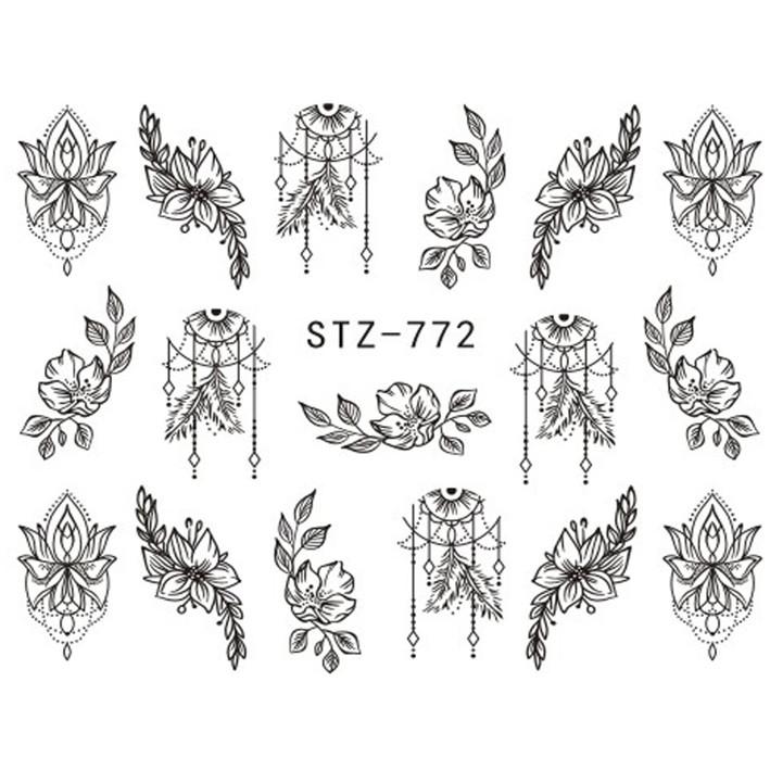 Наклейки для Нігтів Водні Чорного Кольору Серія STZ 772 Квіти Орнаменти, Пластина 6,5 х 5 см