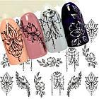 Наклейки для Нігтів Водні Чорного Кольору Серія STZ 772 Квіти Орнаменти, Пластина 6,5 х 5 см, фото 3