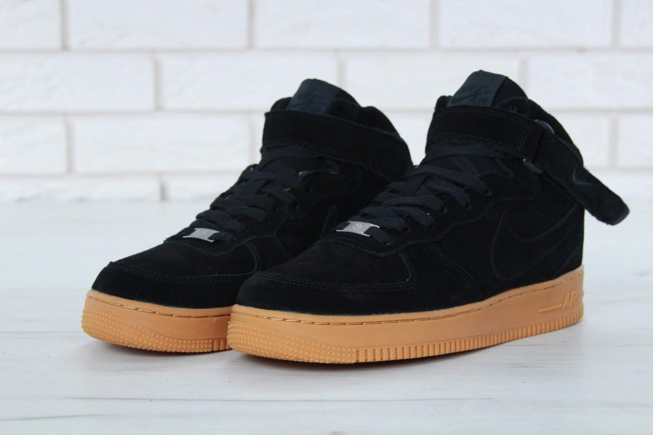 8fafa543 Мужские зимние кеды Nike замшевые стильные модные молодежные черные с  коричневой подошвой, ТОП-реплика