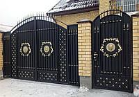 Металлические распашные въездные ворота с калиткой, код: К-0122
