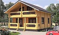Дом двухэтажный из профилированного клееного бруса 9х8 м, фото 1