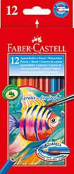 Карандаши акварельные Faber-Castell 12 цветов в картонной коробке + кисточка, 114413