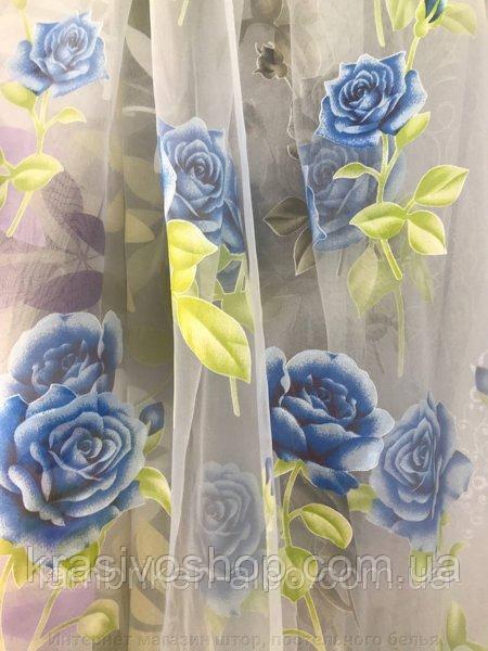 Тюль органза с рисунком цветы Роза голубая