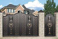 Металлические распашные въездные ворота с калиткой, код: К-0123
