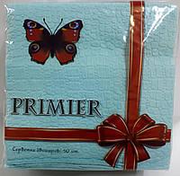 Салфетка бумажная премьер 33*33 50л голубая