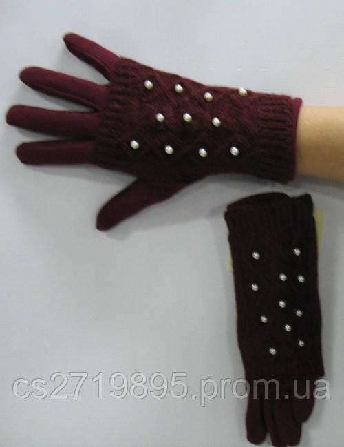 Перчатки женские КОРОЛЕВА 65 мех с вязаным верхом и жемчугом
