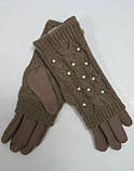 Перчатки женские КОРОЛЕВА 65 мех с вязаным верхом и жемчугом, фото 3