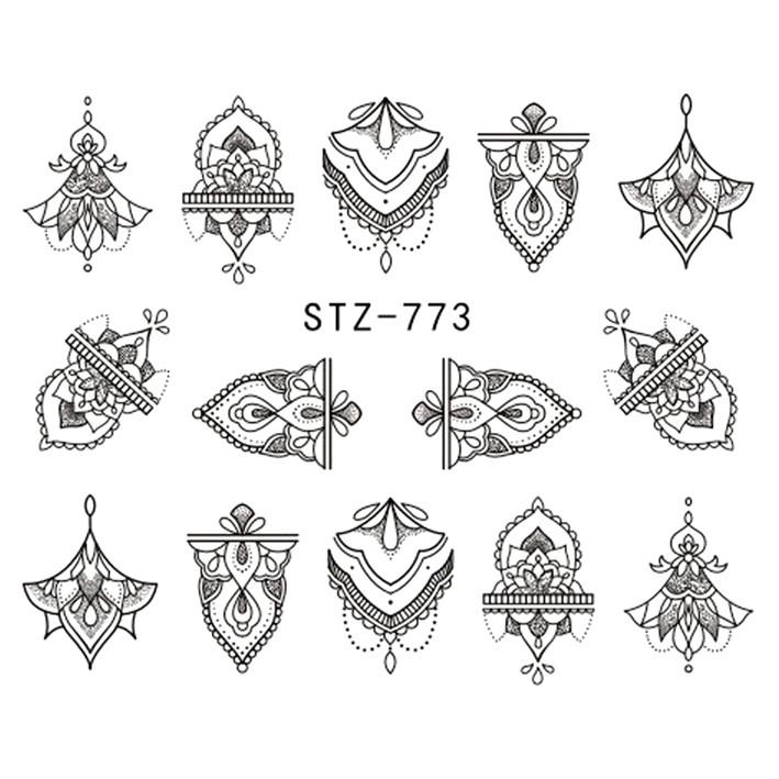 Наклейки для Ногтей Водные Черного Цвета Серия STZ 773 Цветочные Орнаменты, Пластина  6,5 х 5 см