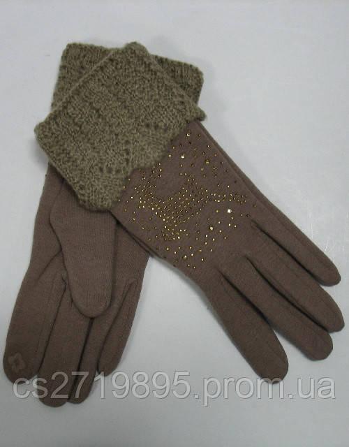 Перчатки женские КОРОЛЕВА 63 с мехом и стразами