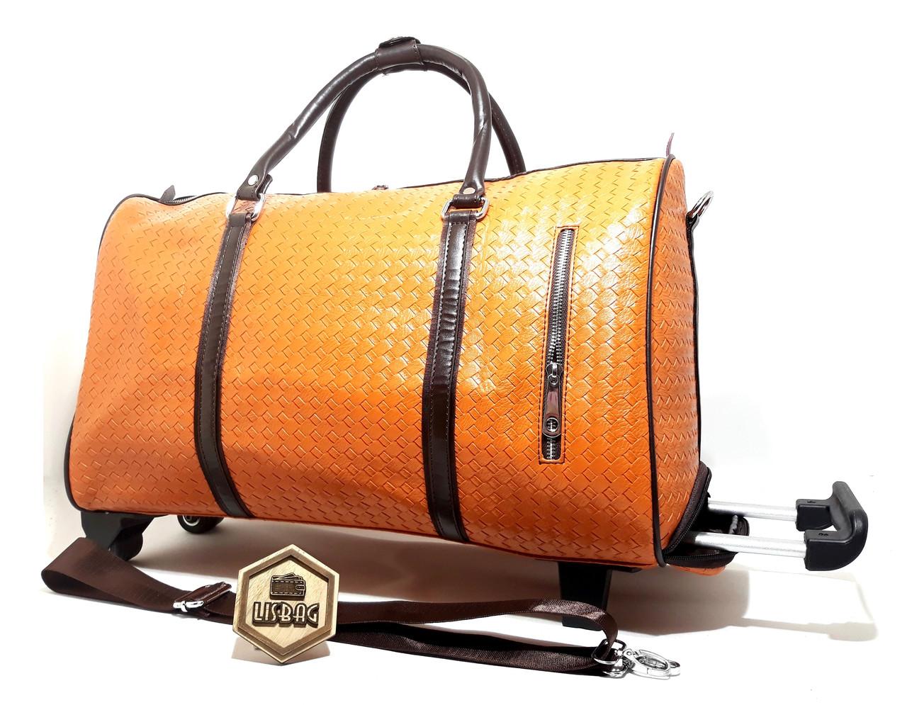 Сумка на колесах женская Оранжевая (50 20 34) чемодан дорожная сумка на  резиновых колесах + ремень 8264aa72346