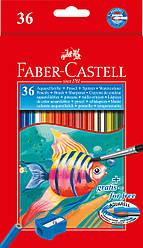 Карандаши акварельные Faber-Castell 36 цветов в картонной коробке с точилкой и кисточкой, 114437