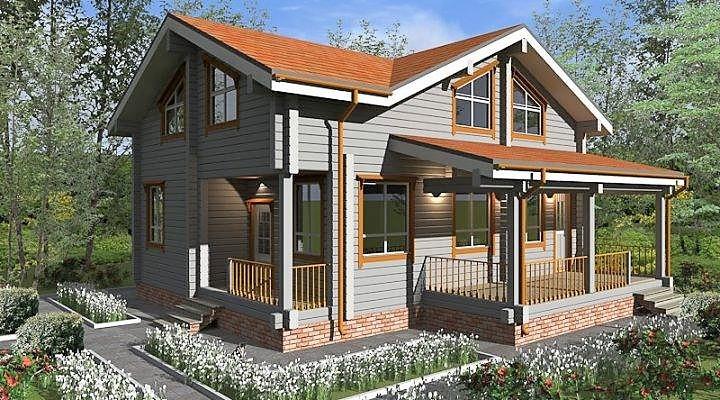 Дом двухэтажный деревянный из профилированного клееного бруса 11х11 м