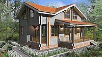 Дом двухэтажный деревянный из профилированного клееного бруса 11х11 м, фото 1