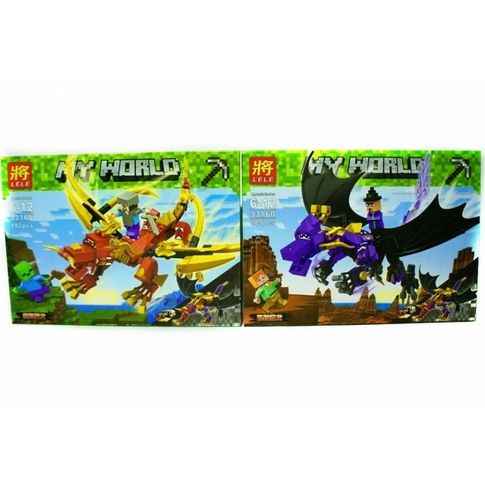 Конструктор Lele 33160 Minecraft Майнкрафт Битва драконов Два вида