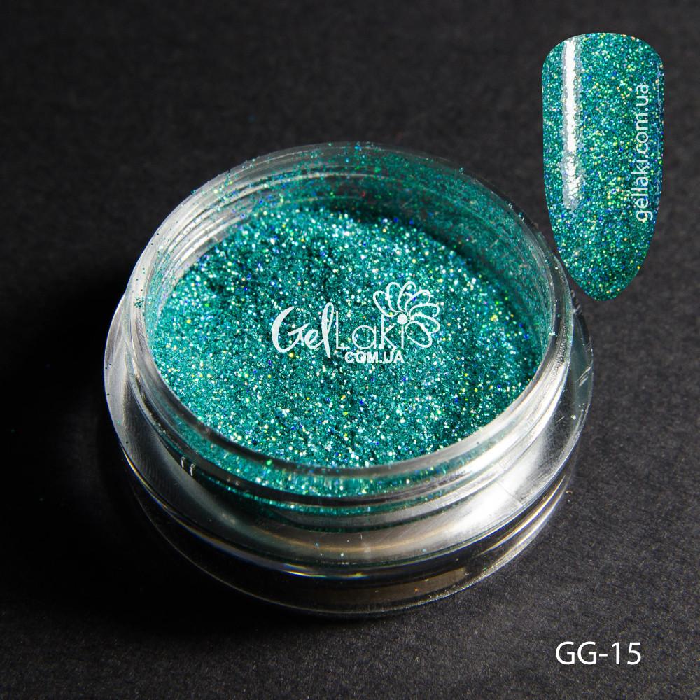Голографический глиттер для дизайна ногтей (светло-бирюзовый), GG-15