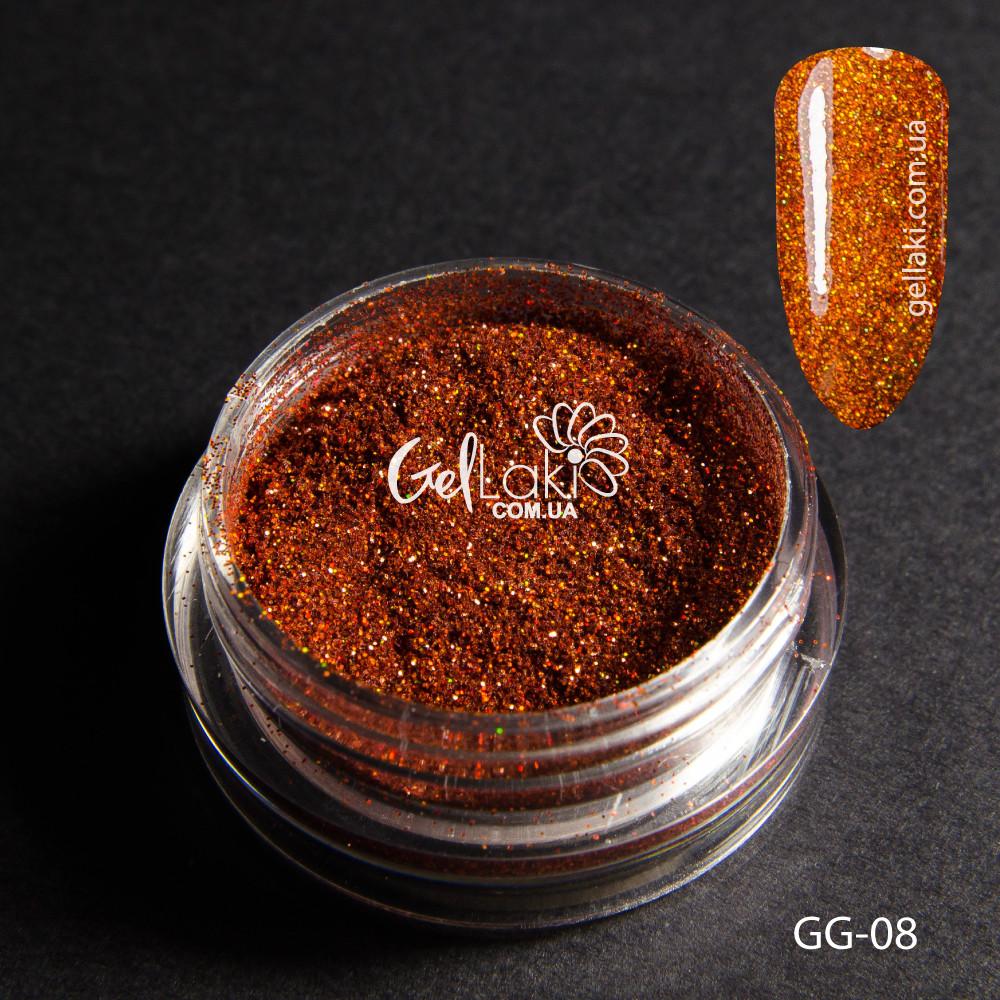 Голографический глиттер для дизайна ногтей (красно-оранжевый), GG-08