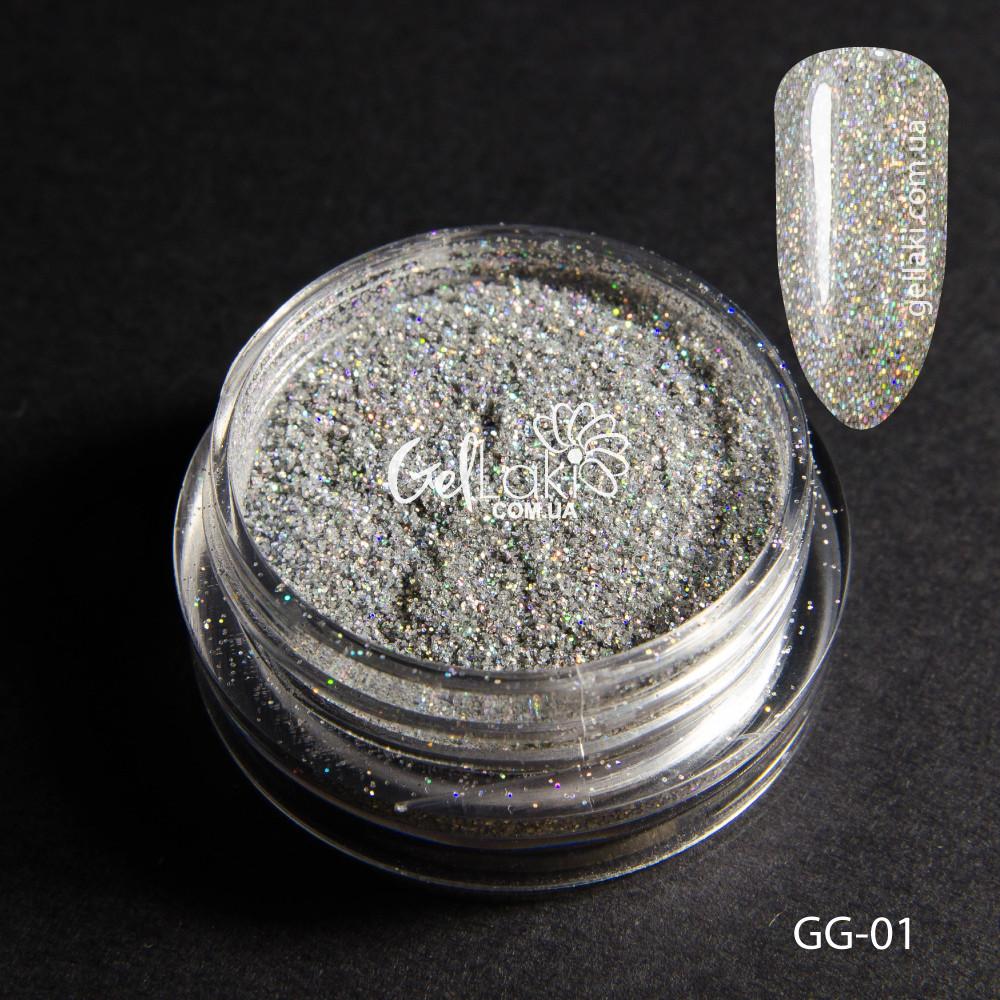 Голографический глиттер для дизайна ногтей (серебро), GG-01