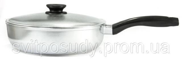 Сковорода алюминиевая, рифленое дно, с крышкой 240 мм