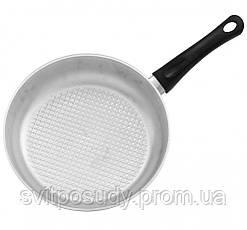 Сковорода алюминиевая, рифленое дно, с крышкой 240 мм, фото 2