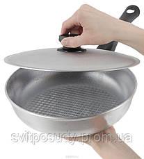 Сковорода алюминиевая, рифленое дно, с крышкой 240 мм, фото 3