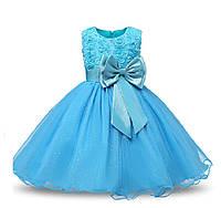 Вечернее платье для девочки голубое с бантом на 3-8 лет