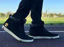 Мужские ботинки Timberland цвета нави золотой логотип топ реплика, фото 2