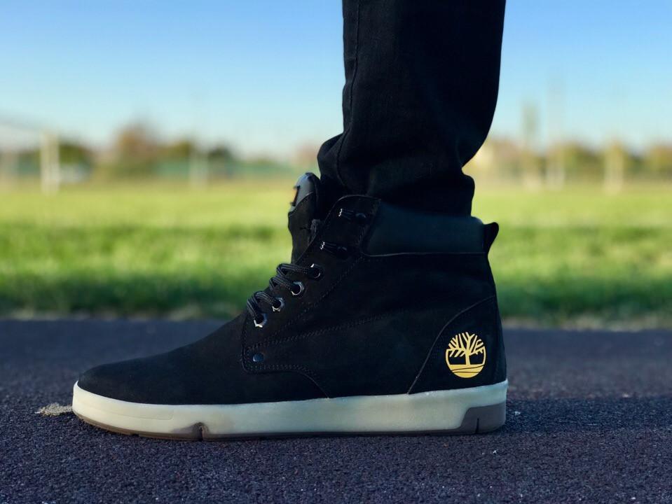 Мужские ботинки Timberland цвета нави золотой логотип топ реплика