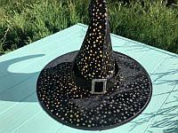 Черная шляпа ведьмы или волшебника с принтом звезды - аксессуар для вашего образа на Хэллоуин