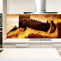 Фартук для кухни из стекла с изображением китайской стены на закате