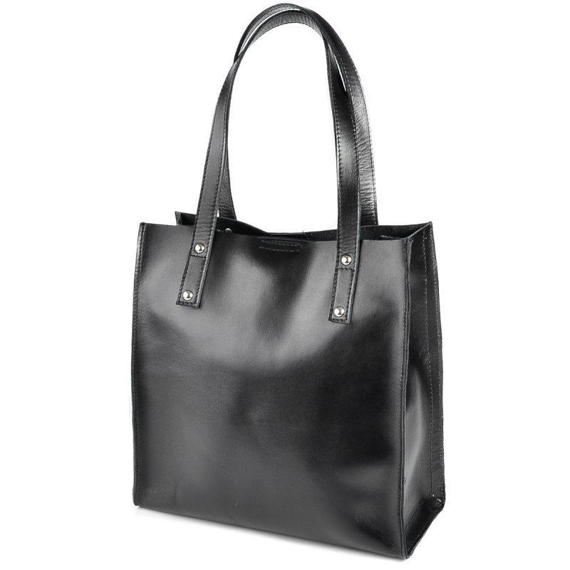 b1274c52365d Черная кожаная сумка М190 деловая квадратная шоппер на плечо, фото 1