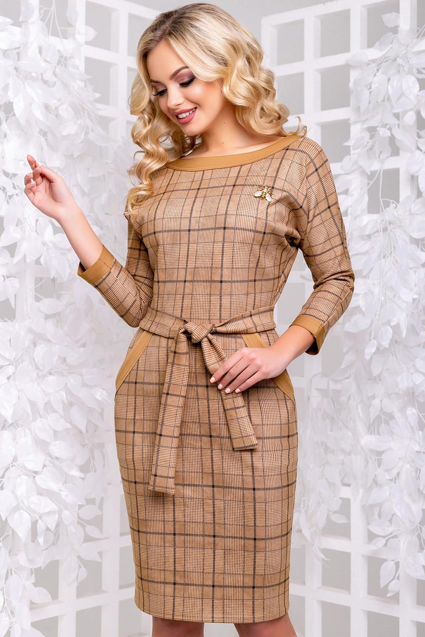 Женское платье, размеры от 44 до 50, экозамш, коричневое в клетку, повседневное, деловое, классическое