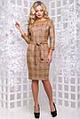 Женское платье, размеры от 44 до 50, экозамш, коричневое в клетку, повседневное, деловое, классическое, фото 2