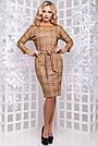 Женское платье, размеры от 44 до 50, экозамш, коричневое в клетку, повседневное, деловое, классическое, фото 4