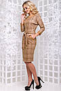 Женское платье, размеры от 44 до 50, экозамш, коричневое в клетку, повседневное, деловое, классическое, фото 5