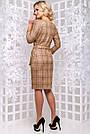 Женское платье, размеры от 44 до 50, экозамш, коричневое в клетку, повседневное, деловое, классическое, фото 6