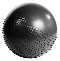 Мяч для фитнеса (фитбол) полумассажный HMS YB03 75 см Anti-Burst Black, фото 1