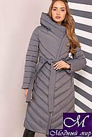 Длинное женское стеганное пальто большого размера (р. 44-60) арт. Фелиция серый